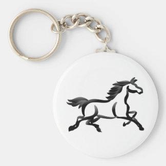 Horse Outline Basic Round Button Keychain
