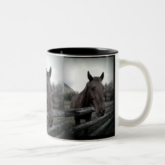 Horse Over Fence Rails Photographic Portrait Two-Tone Coffee Mug