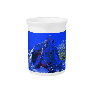 horse over fence side view blue cartoon beverage pitcher