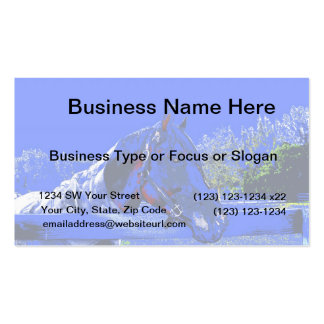 horse over fence side view blue cartoon business card templates