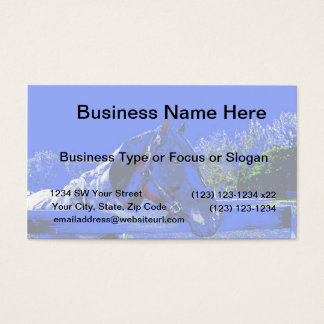 horse over fence side view blue cartoon business card