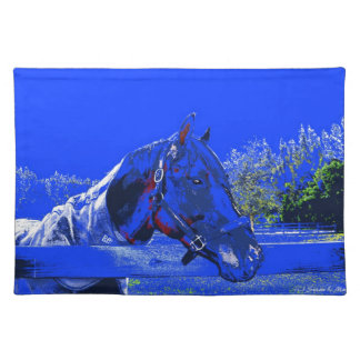 horse over fence side view blue cartoon cloth placemat