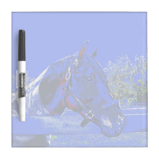 horse over fence side view blue cartoon dry erase board