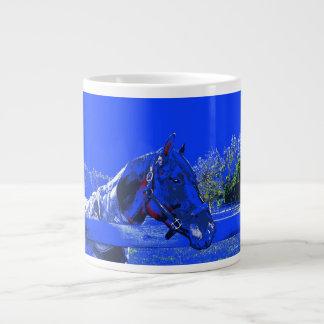 horse over fence side view blue cartoon giant coffee mug