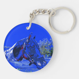 horse over fence side view blue cartoon keychain