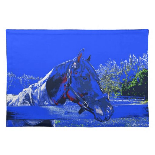 horse over fence side view blue cartoon place mats