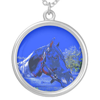 horse over fence side view blue cartoon round pendant necklace
