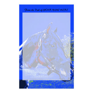 horse over fence side view blue cartoon stationery