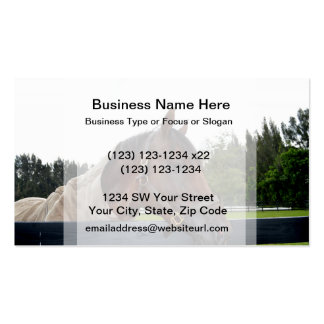 horse over fence side view business card