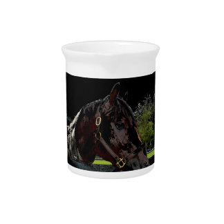 horse over fence side view dark beverage pitcher