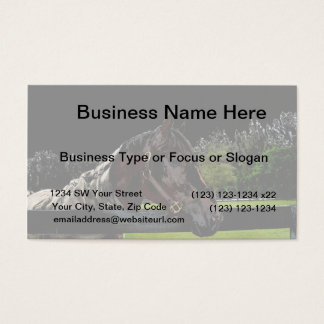 horse over fence side view dark colors business card