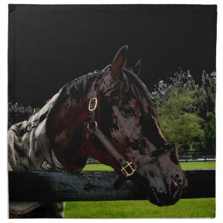 horse over fence side view dark colors cloth napkin