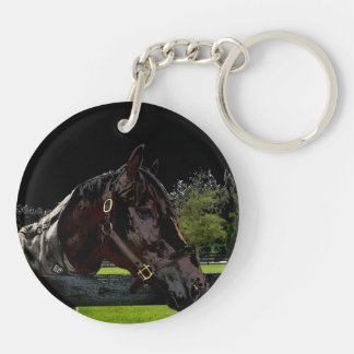 horse over fence side view dark colors keychain