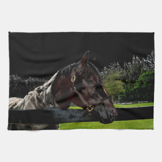 horse over fence side view dark colors kitchen towel