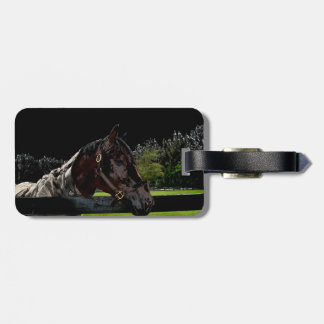 horse over fence side view dark colors travel bag tags