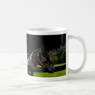horse over fence side view dark colors coffee mug