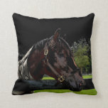horse over fence side view dark colors throw pillow