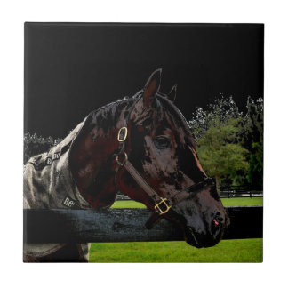 horse over fence side view dark colors small square tile