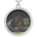 horse over fence side view dark personalized necklace