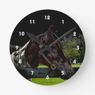 horse over fence side view dark round clock