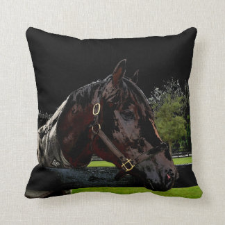 horse over fence side view dark throw pillow