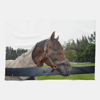 horse over fence side view hand towel