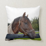 horse over fence side view pillow