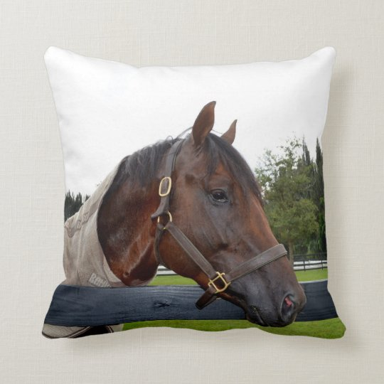 horse over fence side view throw pillow