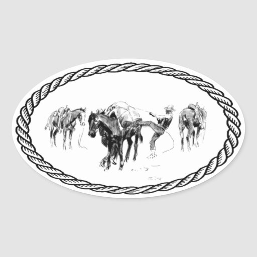 Horse Packing Euro Style Oval Stickers
