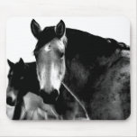 Horse pad in black and white mousepad