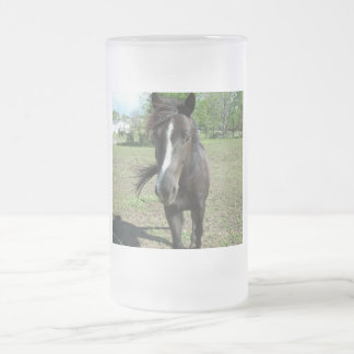 Horse Paint Frosted Glass Beer Mug