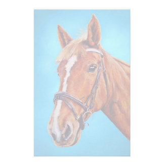 Horse painting, Chestnut mare with white blaze, Stationery