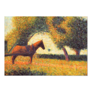 Horse painting pointillist art by Georges Seurat Card