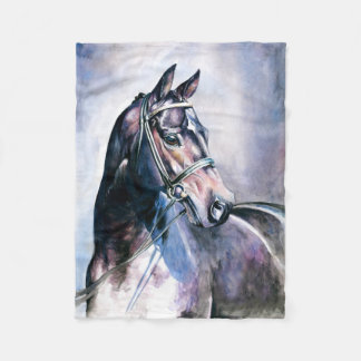 Horse Painting Small Fleece Blanket
