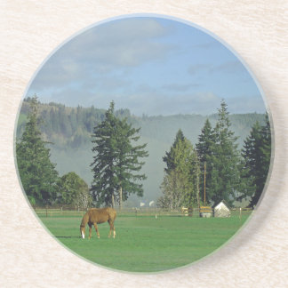 Horse Pasture Animal Ranch Farm Drink Coaster