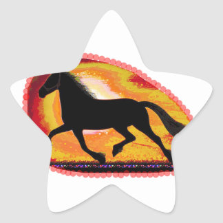 Horse Pet Animal  Add TXT IMG background color Star Sticker