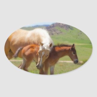 Horse Photo Mare and Foal  Home and Kitchen Decor Oval Sticker