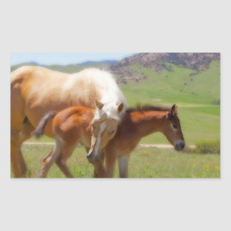 Horse Photo Mare and Foal  Home and Kitchen Decor Rectangular Sticker