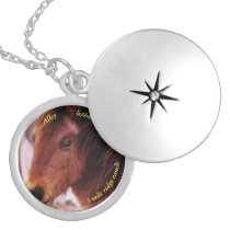 Horse Photo Medium Silver Plated Round Locket