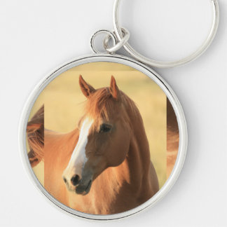 horse picture Silver-Colored round keychain