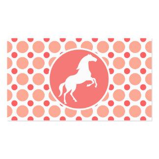Horse; Pink & Coral Polka Dots Business Card Templates