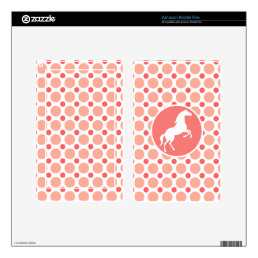 Horse; Pink & Coral Polka Dots Decals For Kindle Fire