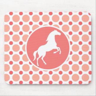 Horse; Pink & Coral Polka Dots Mousepads