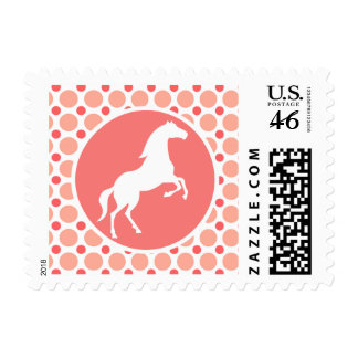 Horse Pink Coral Polka Dots Stamps