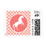 Horse; Pink & Coral Polka Dots Stamps