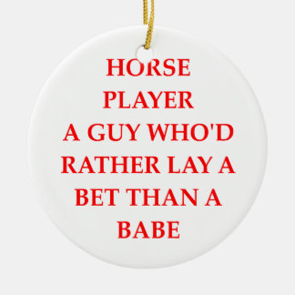 horse player Double-Sided ceramic round christmas ornament