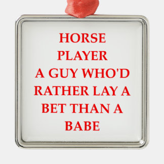 horse player square metal christmas ornament