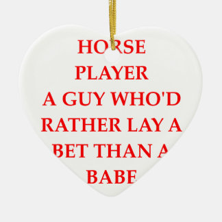 horse player Double-Sided heart ceramic christmas ornament