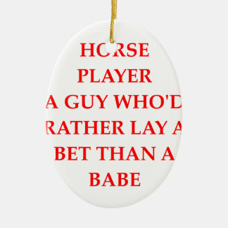 horse player Double-Sided oval ceramic christmas ornament