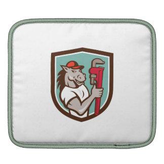 Horse Plumber  Monkey Wrench Crest Cartoon iPad Sleeve